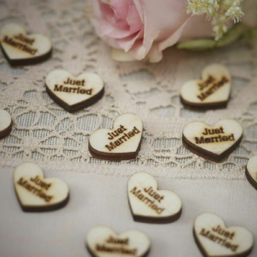 Wooden Just Married Confetti  25pk